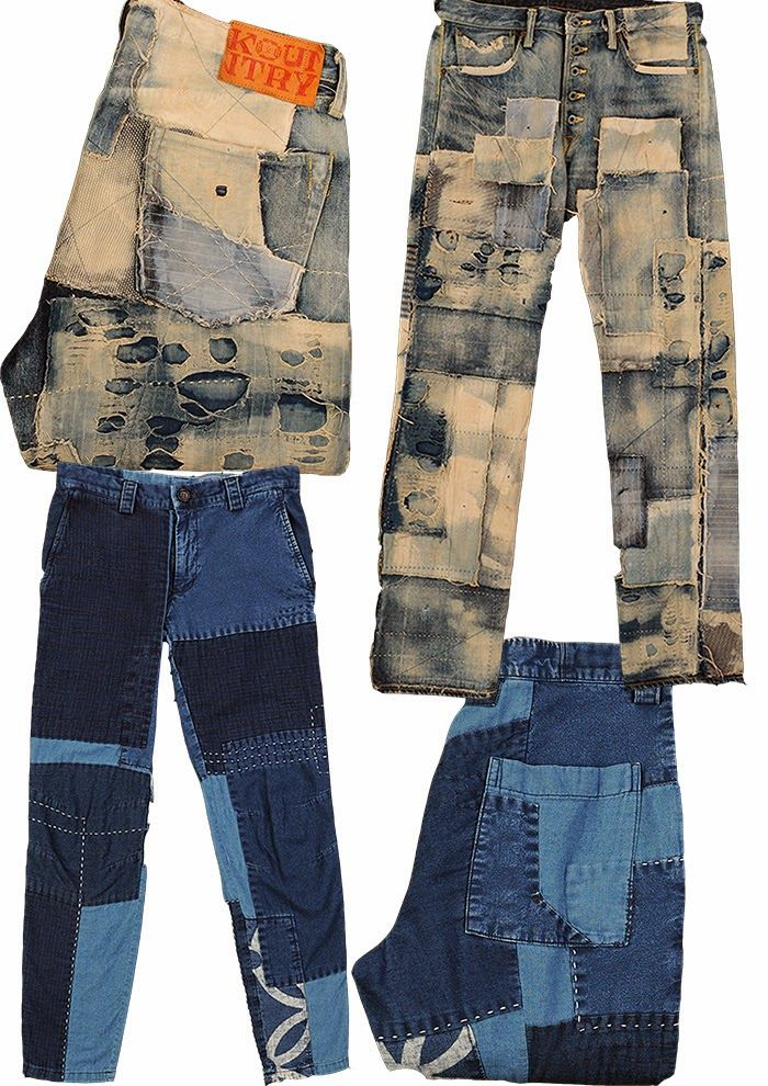 Denim Distressed and Patched-Levis and Kapital  52bd5b1136