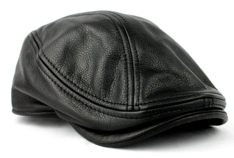Stetson Mens Black Leather Ivy Hat Newsboy Driver Cap s M L XL Gatsby  Steampunk  0fb31822025