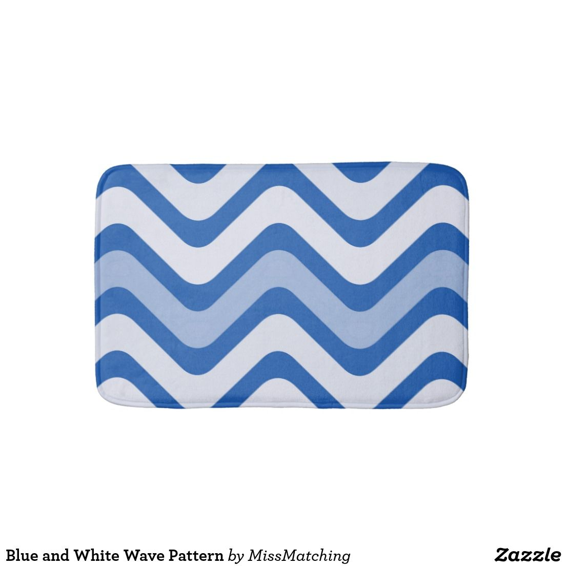 Blue And White Wave Pattern Bathroom Mat Zazzle Com Wave