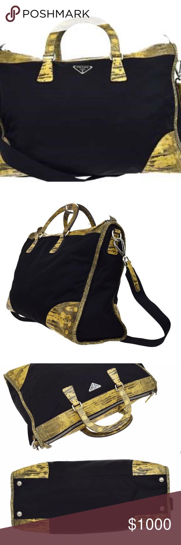 "971dae8d54c73d PRADA PURSE Authentic PRADA, 2Way-Shoulder Handbag Python Skin-Leather, bag  is Black nylon ""EXCELLENT CONDITION"" 1 Zipper to close and secure your  items, ..."