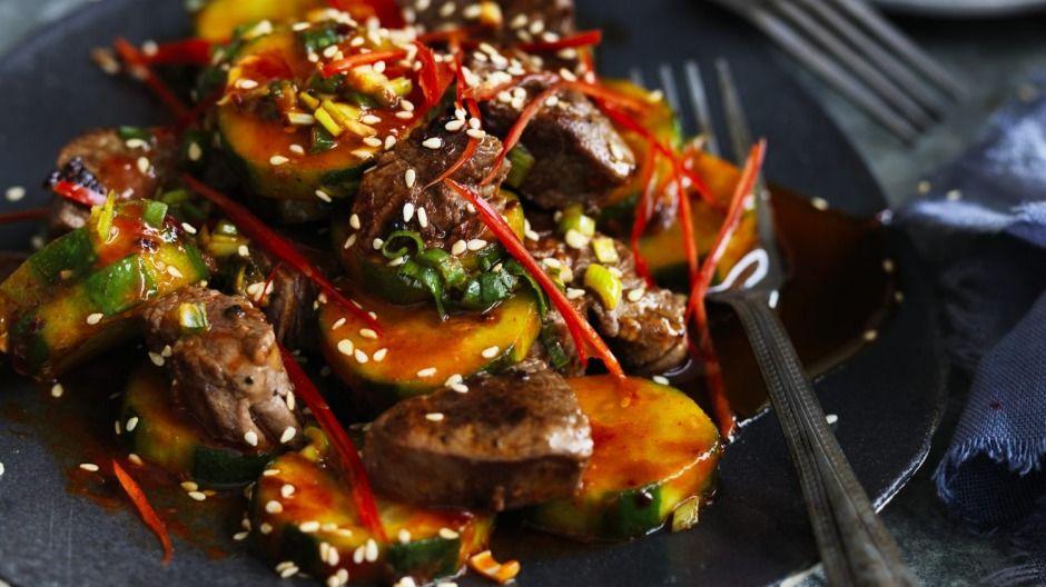 Stir-fried Korean beef with cucumber | Recipe | Spicy ...