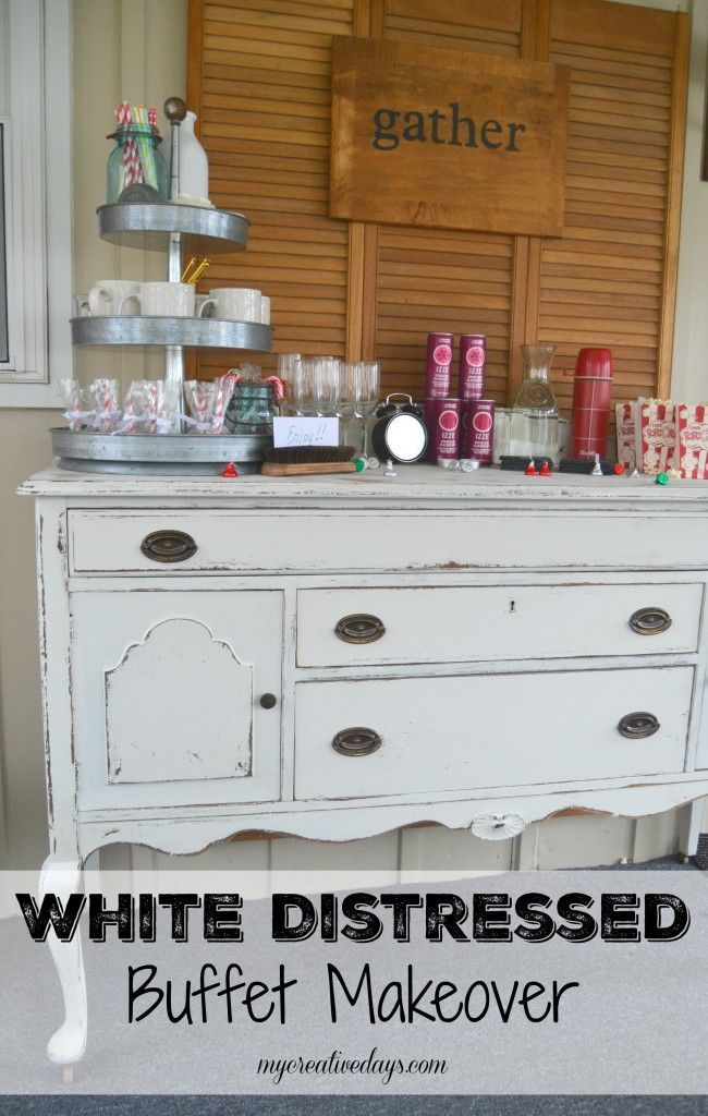 DIY White Distressed Antique Buffet