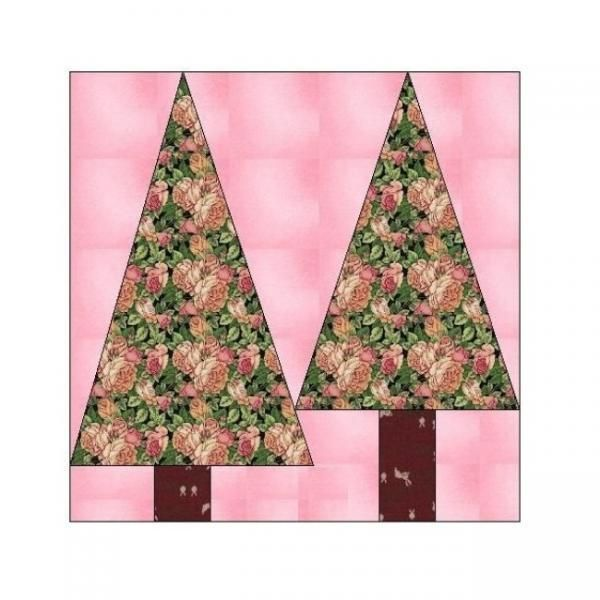 ALL STITCHES - TREES PAPER PIECING QUILT BLOCK PATTERN .PDF -080A