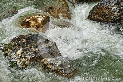 Rough mountain flow in the gorge. Lichtensteinklamm, Austria