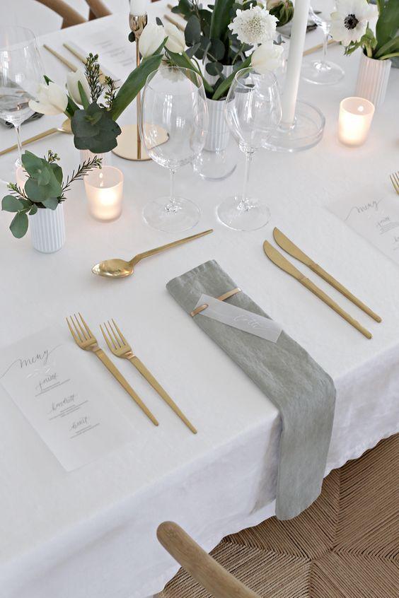 gold cutlery table setting tablescape wedding ideas   wedding ...