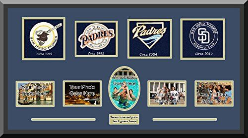 San Diego Padres Wool Felt Logos With Personal Photo Openings-Framed With 1 1/2 Inch Black Frame- Awesome & Beautiful