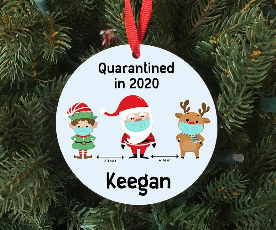 Personalized Quarantined in 2020 Ornament Keepsake Santa