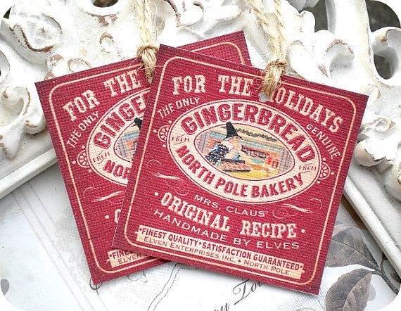 NEW  Vintage Gingerbread North Pole Bakery by LittlePaperFarmhouse, $4.50
