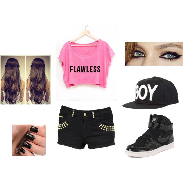 A fashion look from February 2014 featuring shirts & tops, studded shorts and nike shoes. Browse and shop related looks.