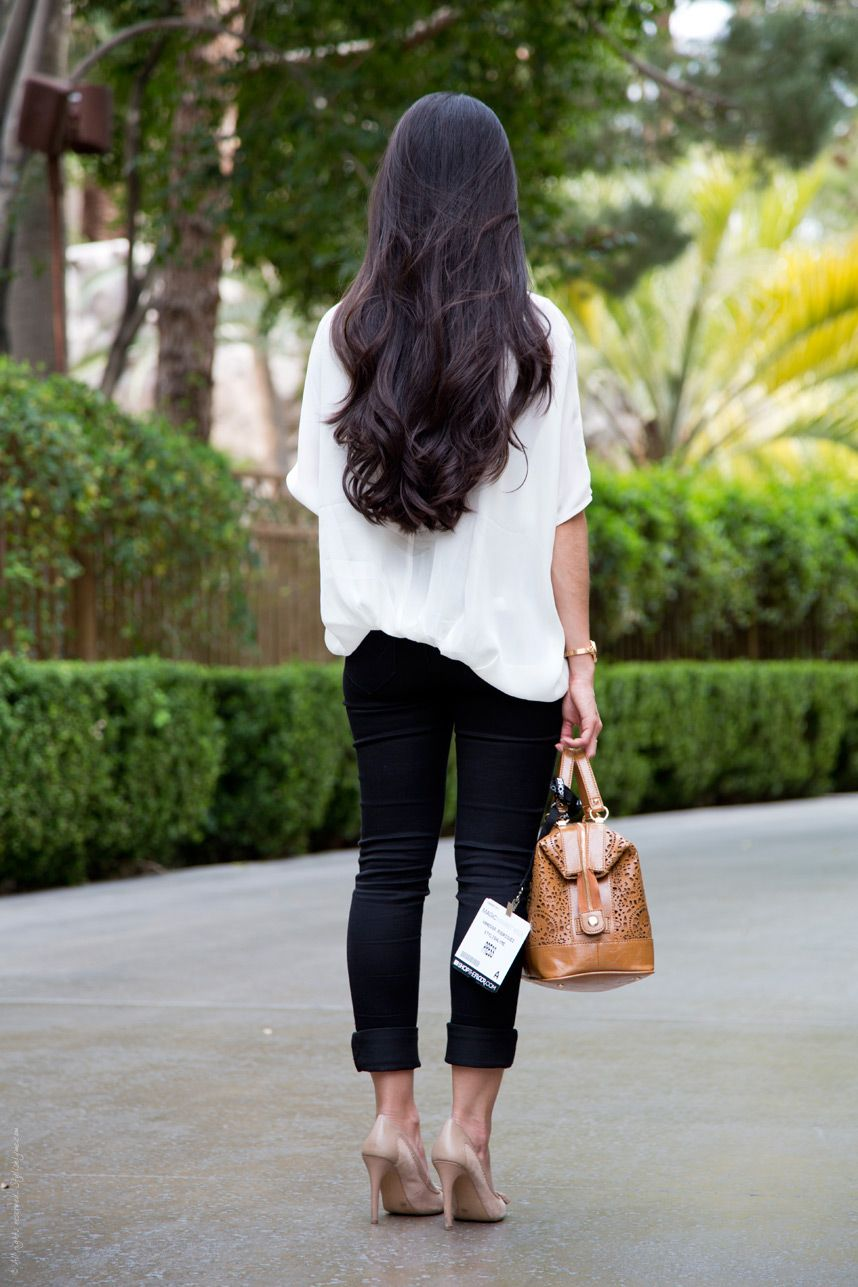 66c4dff1bc Black White Outfit Long Wavy Hair - Stylishlyme