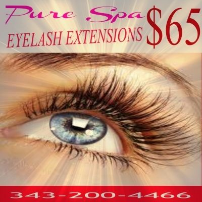 Come and enjoy a true Spa Ambience at PURE SPA Eyelashes Extensions in Rockland with an experienced Eyelash stylish.  65$ set mink or silk ~ XTREME LASHES  2D