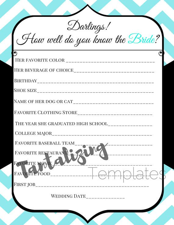 Breakfast at Tiffanyu0027s Bridal Shower Game Template - How well do - bridal shower template