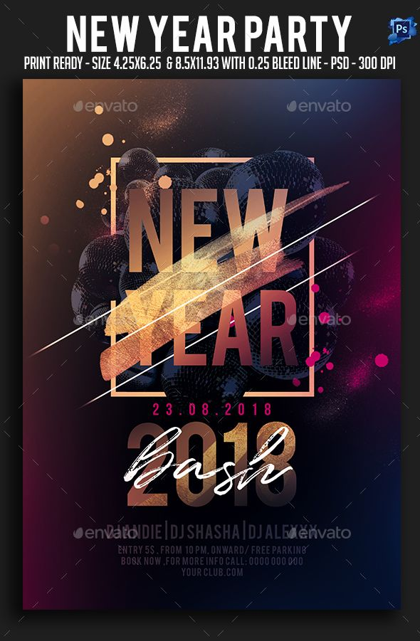 new year party flyer clubs parties events event flyer