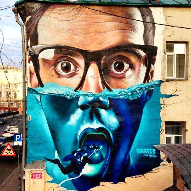 """LEVELS // Credit: Smates (Russia)  #streetart #graffiti"""