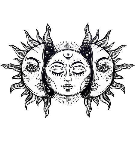 Vintage Eclipse Solar Sol y Luna   Póster