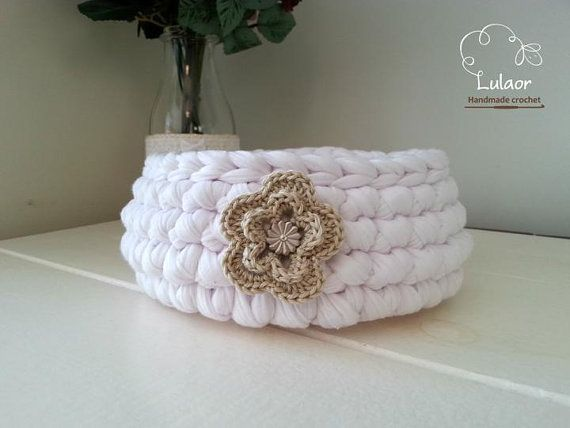 crochet round basket t-shirt yarn basket by Lulaor on Etsy