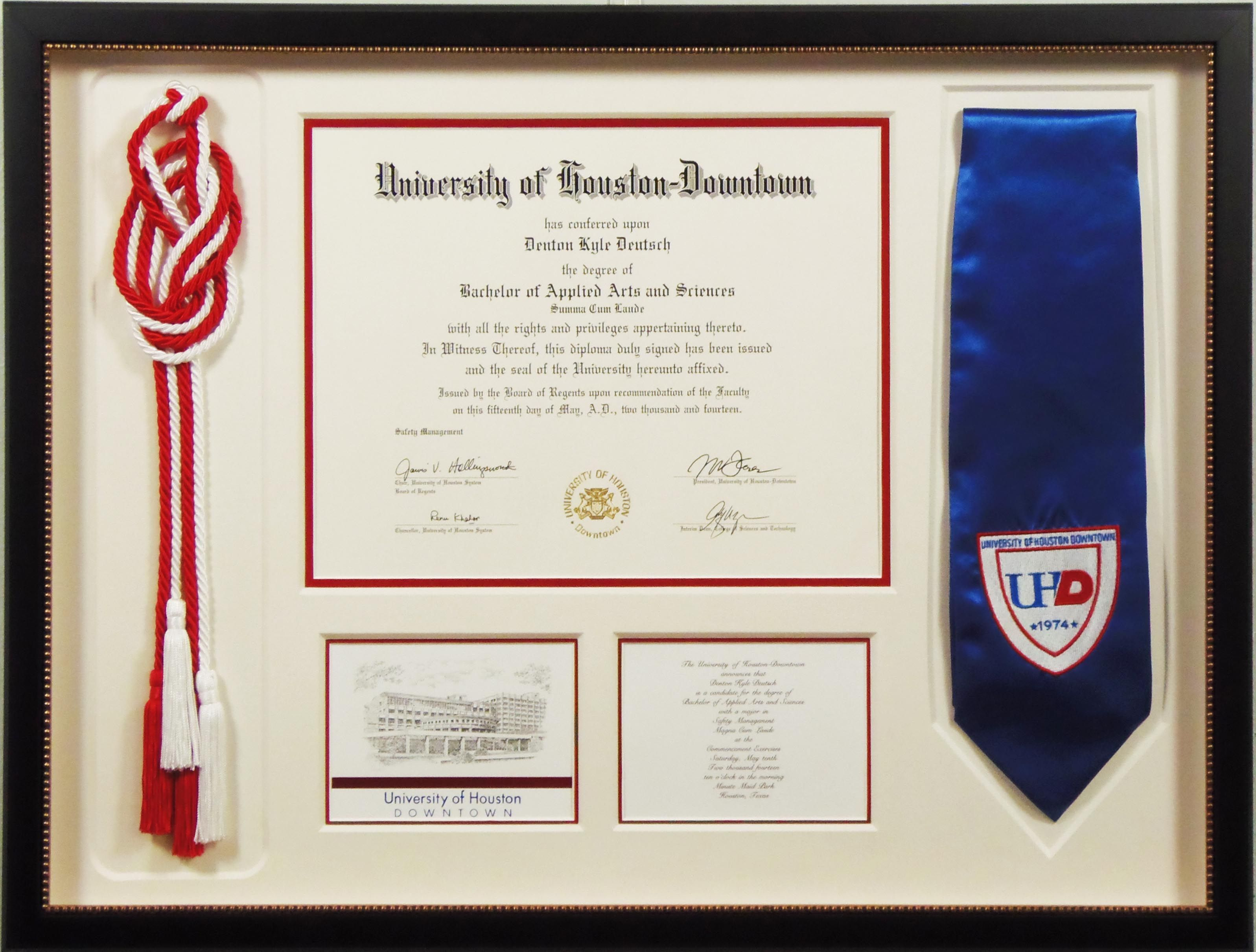 University of Houston graduation shadowbox with diploma, sash, ropes ...