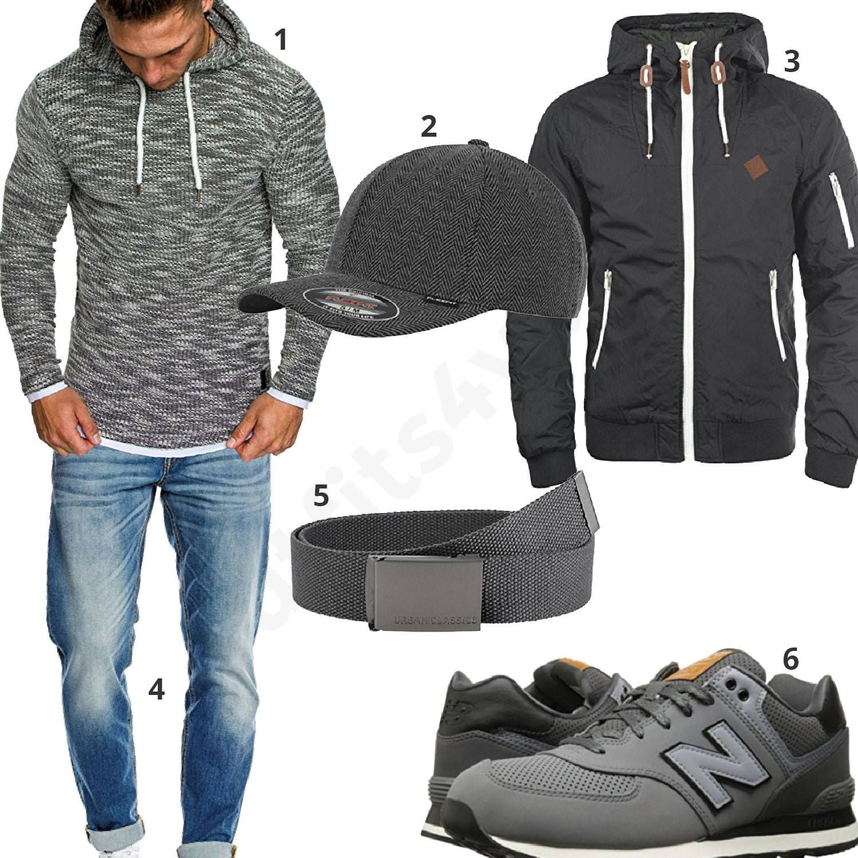 Grauer Street-Style mit Hoodie, Sneaker und Cap   Street Swag ... 33a38a3b6a