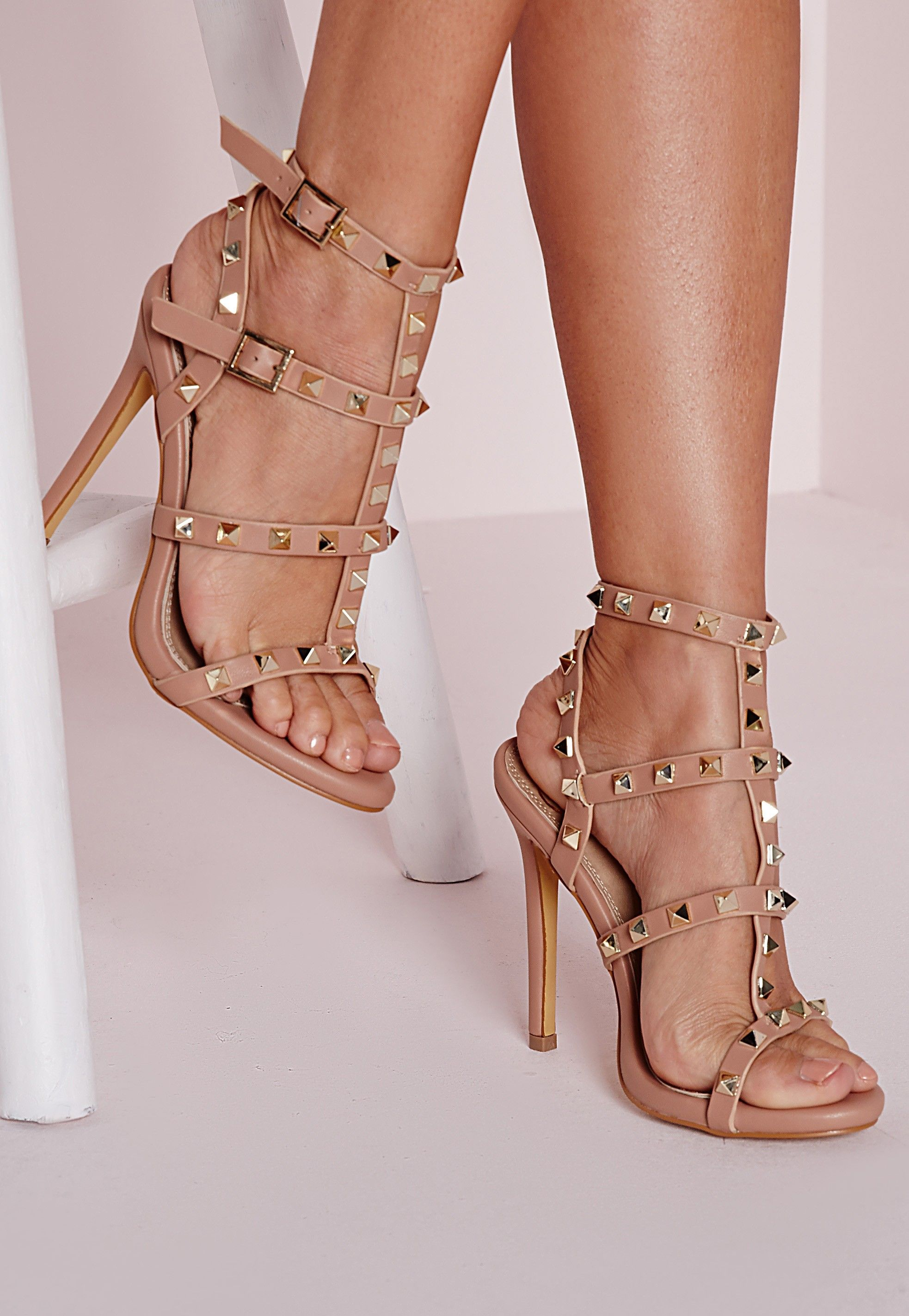 a87143a5923 Missguided - Studded Heeled Gladiator Sandals Blush