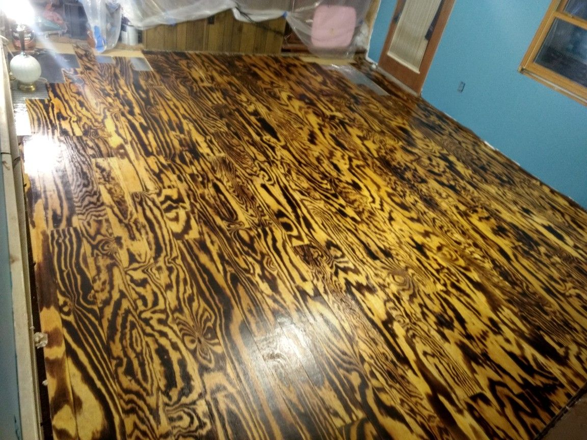 Here is my first time doing burnt plywood flooring. it was
