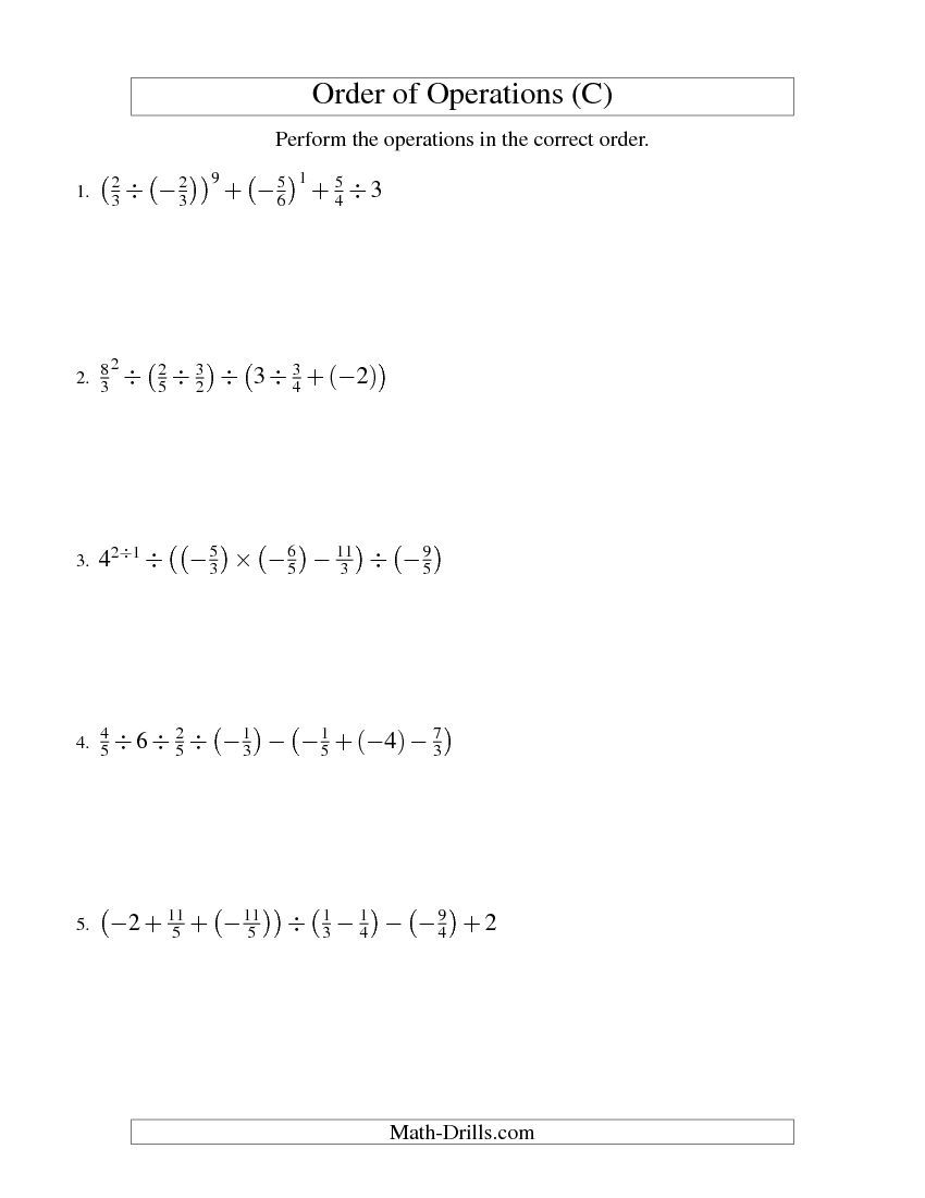 worksheet Worksheet On Order Of Operations order of operations with fractions six steps including negative c