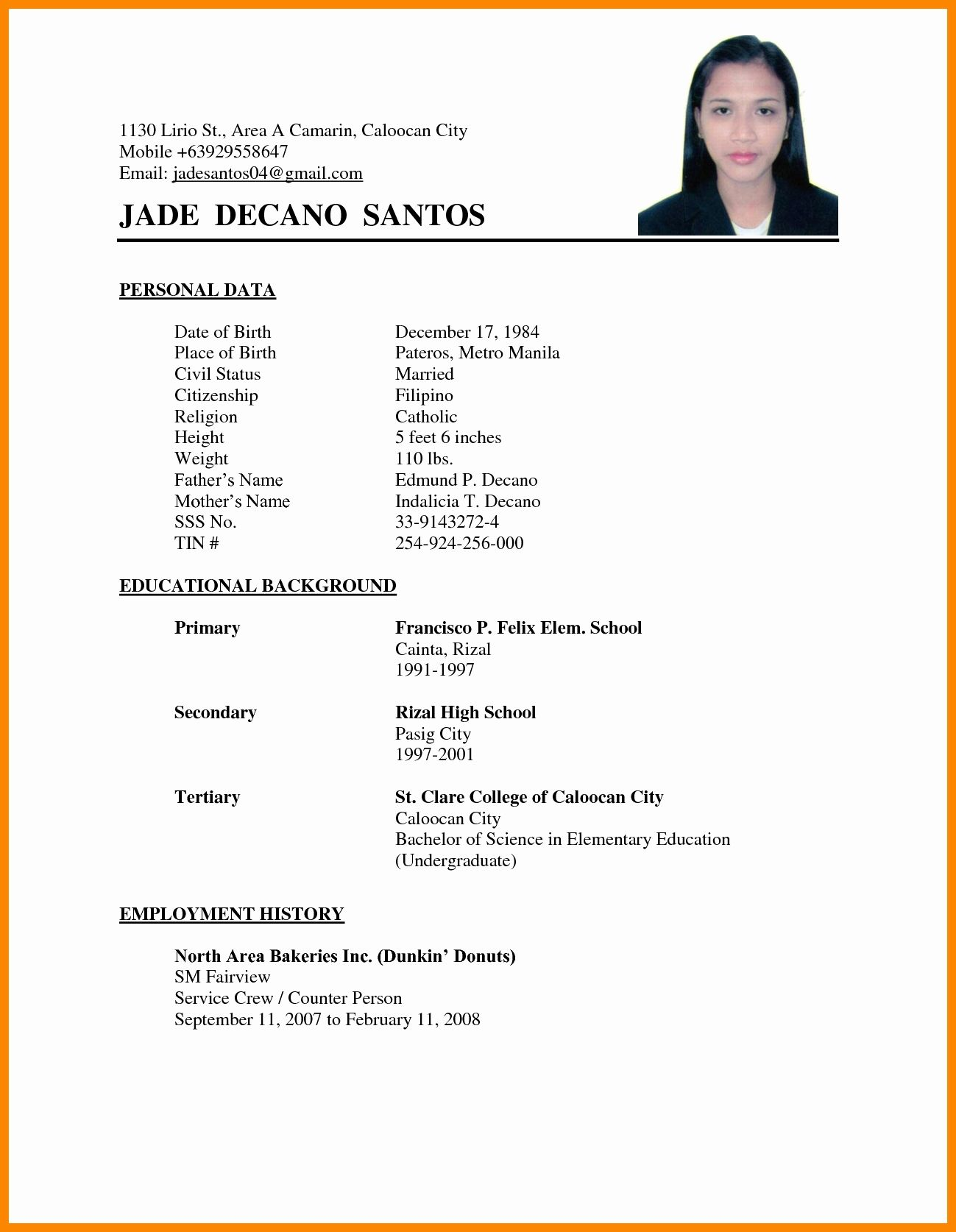 Image result for resume for applying job abroad Basic