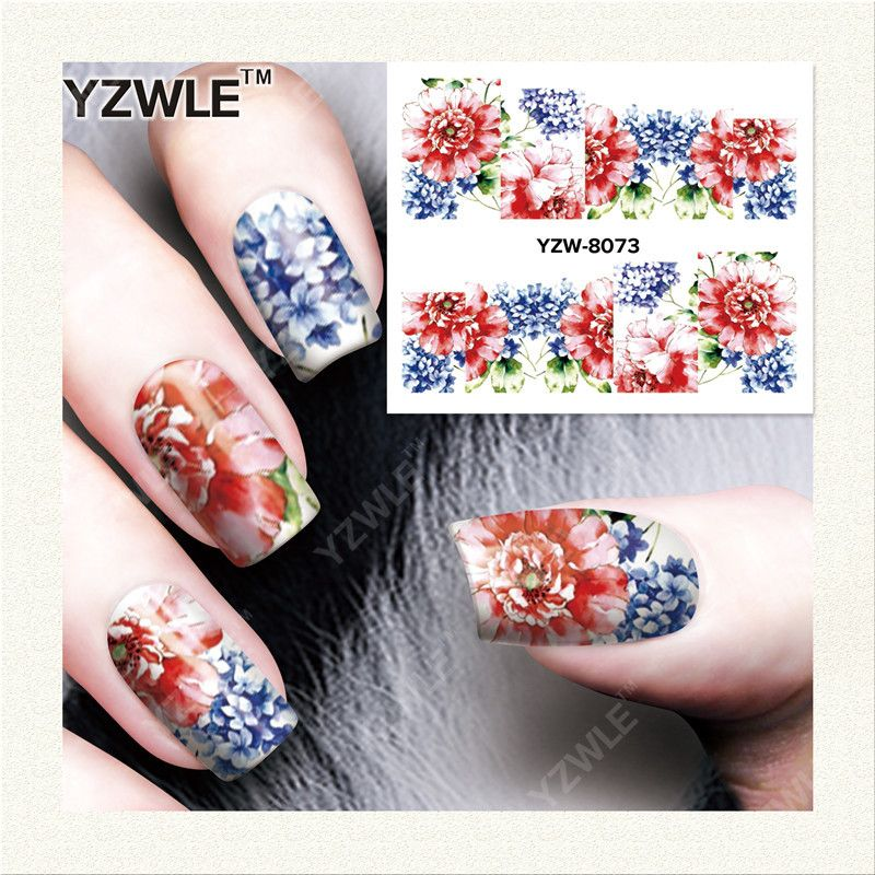 YZWLE 1 시트 DIY 데칼 손톱 아트 물 전송 인쇄 스티커 액세서리 매니큐어 살롱 YZW-8073