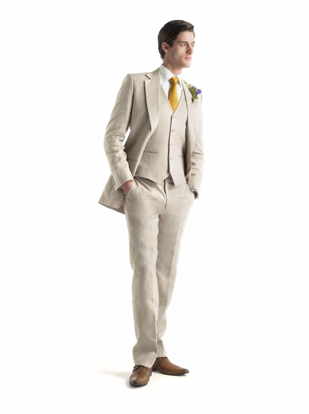 2017 Latest Coat Pant Designs Beige Linen Wedding Suits For Men ...