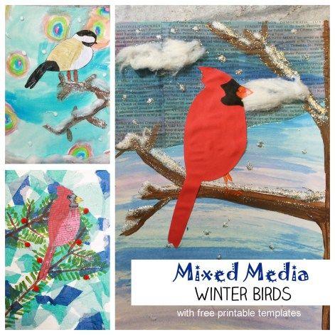 Mixed Media Winter Birds – The Pinterested Parent