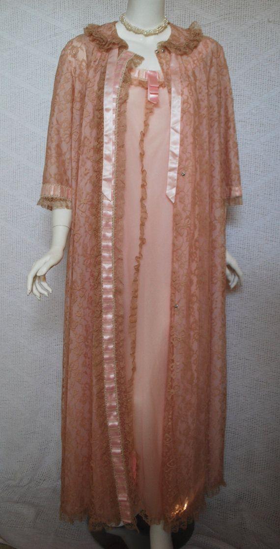 Vintage Peach Peignoir Set Medium Large 1960s by IntimateRetreat cf5935550