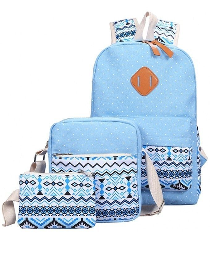 d18a73181bb5 FASHION 3pcs Zipper Type Backpack Print Pattern - Azure