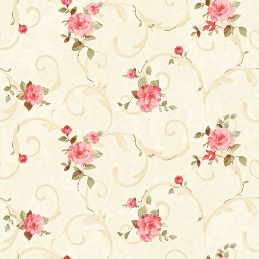 Dollhouse Miniature Shabby Chic Wallpaper Pink