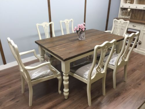 Beautiful Farmhouse Table 6 Chairs Fabric Seats Shabby Chic Oak Pine Rustic New Chair Fabric Farmhouse Table Fabric Seat