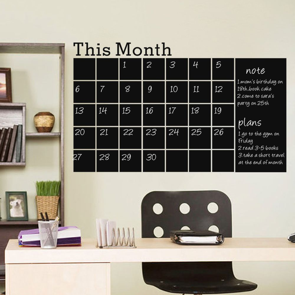 Chalkboard Wall Decal Home Decoration Monthly Calendar Vinyl Wall Sticker 27 X 43 Wall Decor Stickers Chalkboard Wall Decal Small Wall Stickers