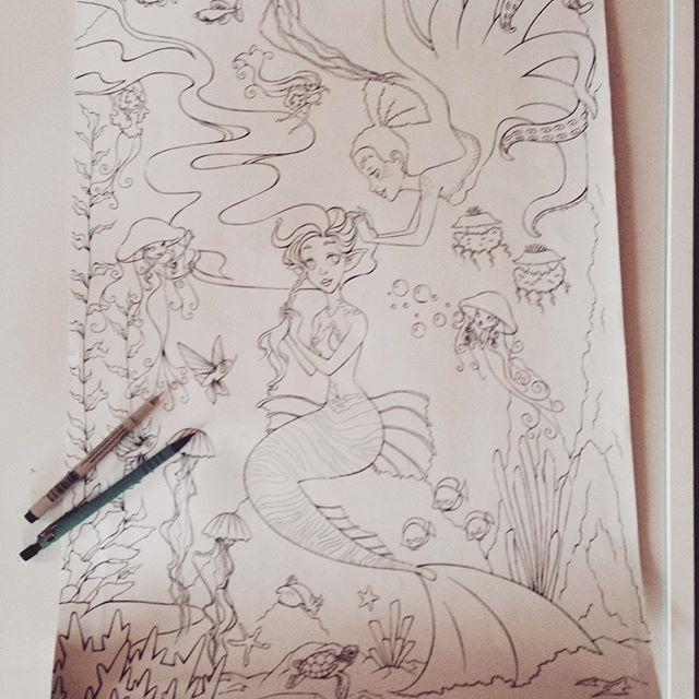 Working the hole week on inking the illustration. Yet start the hard work…