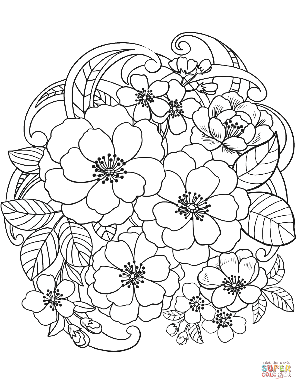 Blooming Flowers Coloring Page Free Printable Coloring Pages Free Coloring Pages Online Coloring Pages Flower Coloring Pages