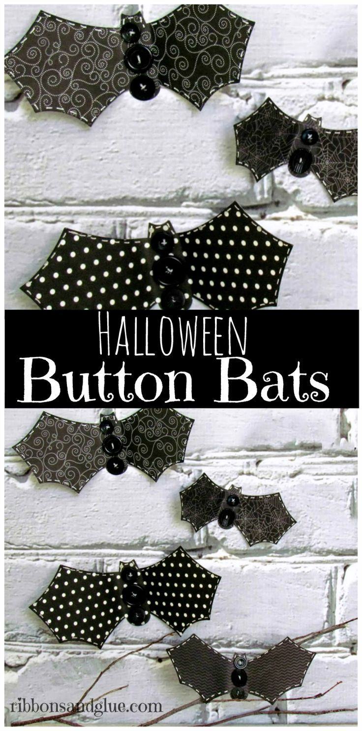 Simple Halloween Button Bats are an easy Halloween craft to make to add a…