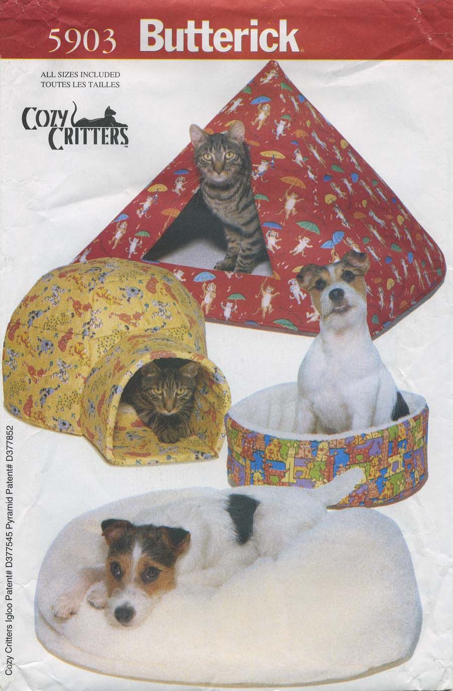 Vintage Dog Accessories Sewing Pattern Pet Beds