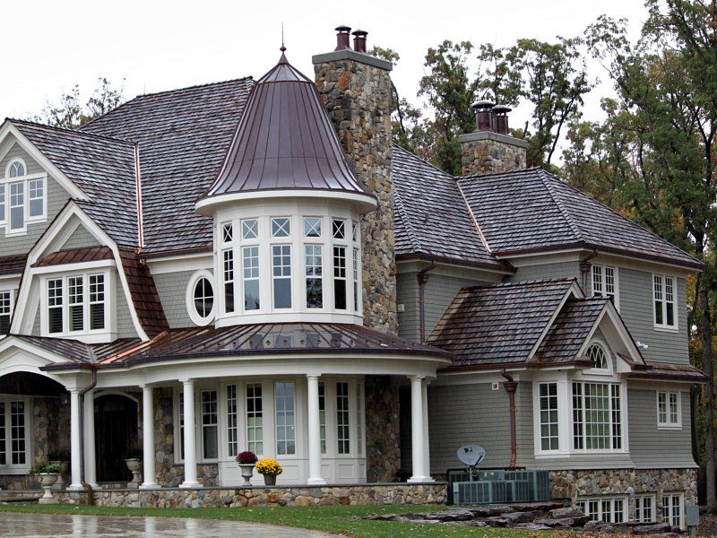 illinois home with stone siding foundation and chimney white