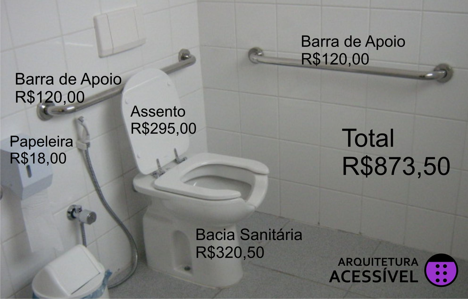 Preco Bacia Com Imagens Banheiro Acessivel Banheiro Barras