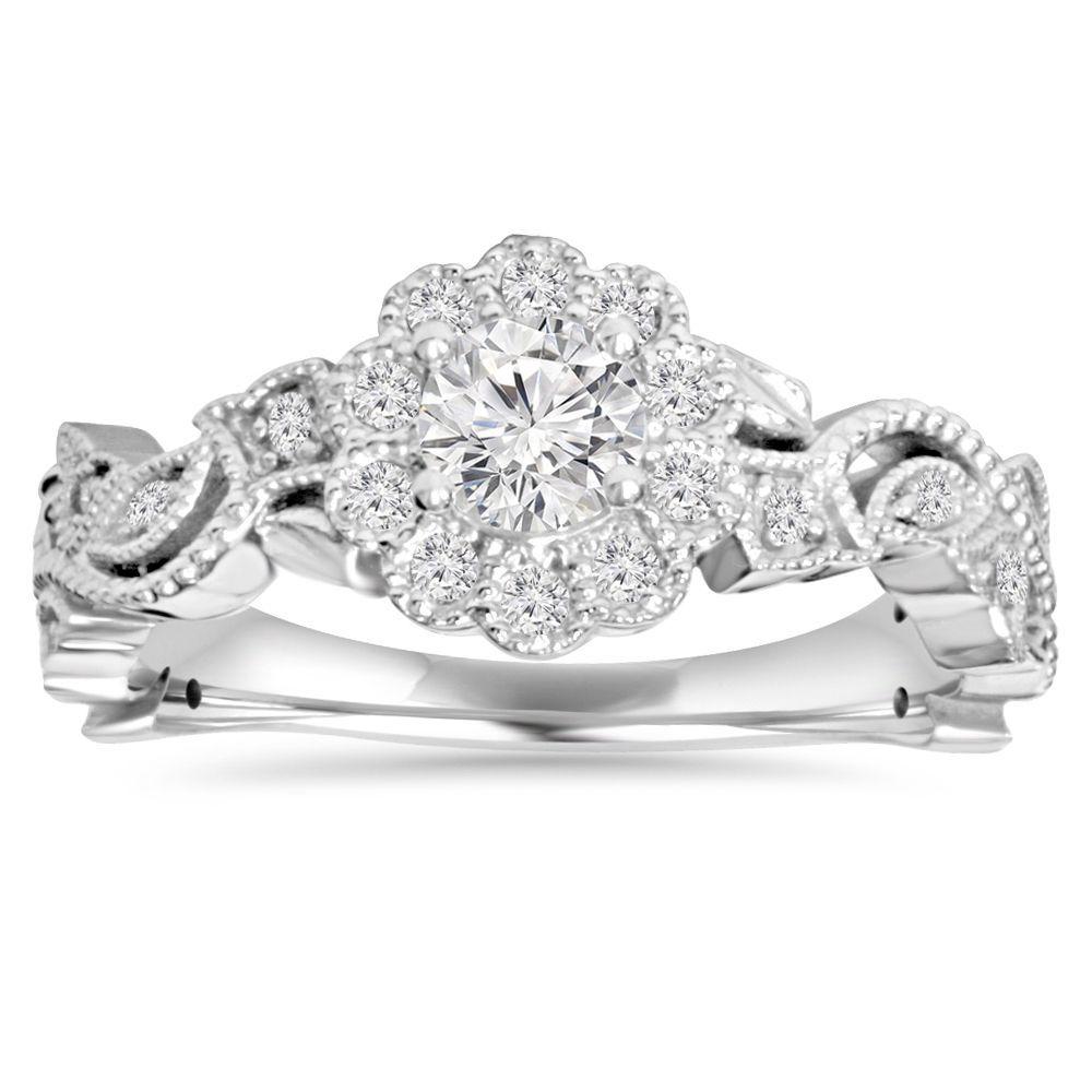 overstock wedding rings 14k White Gold 1 2 ct TDW Diamond Vintage Pedal Engagement Wedding Ring