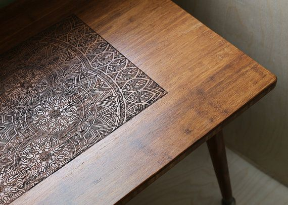 Engraved Hardwood Coffee Table in Mid Century Modern and