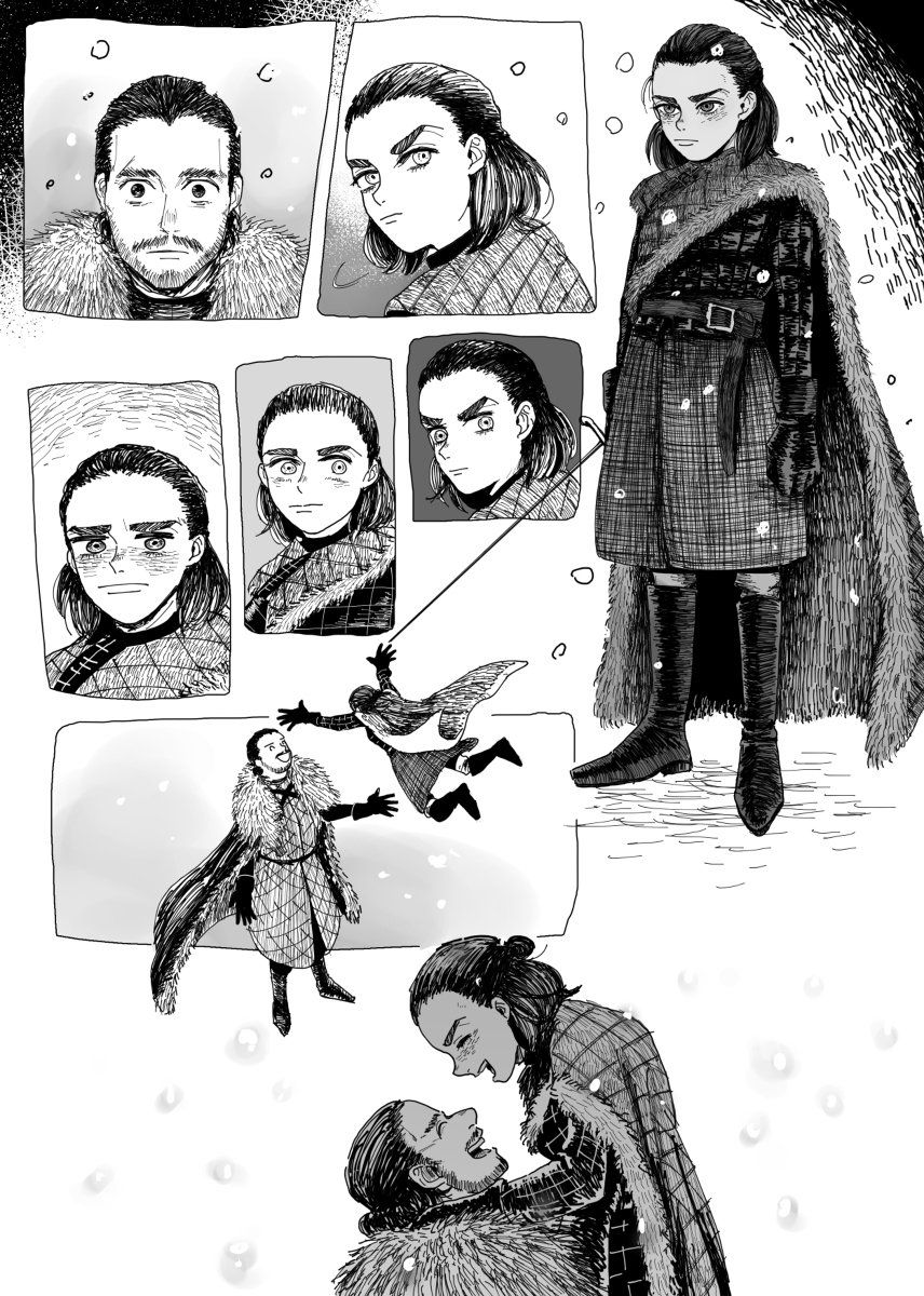 Anime Game Of Thrones Arya Jon Snow King In The North Game Of