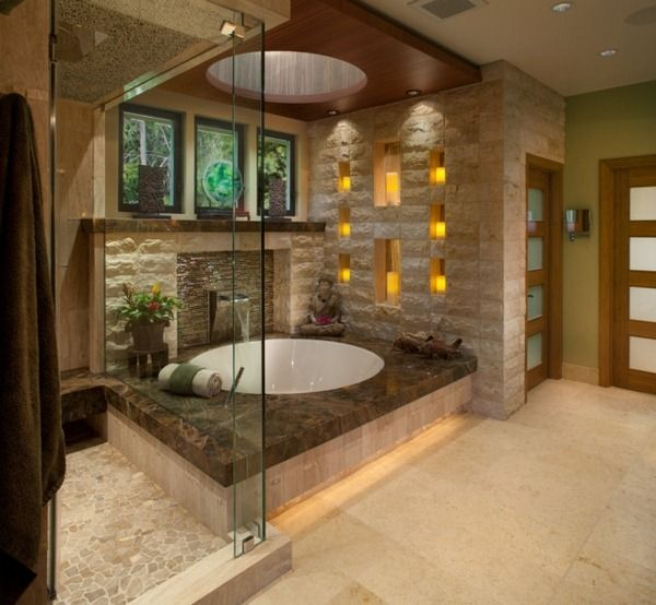 ides salle de bains asiatique tage luxueusement au plafond vitrage jardin de sortie avec piscine