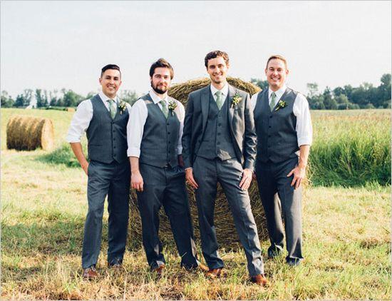 Charcoal And Green Groomsmen Barn Rustic Wedding