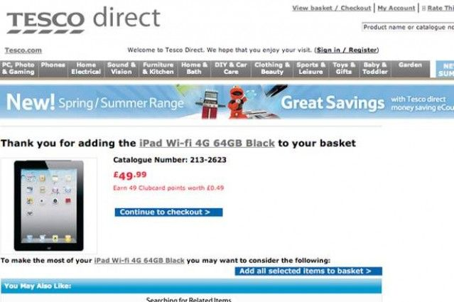 Tesco Direct - New iPad - Wrong Price