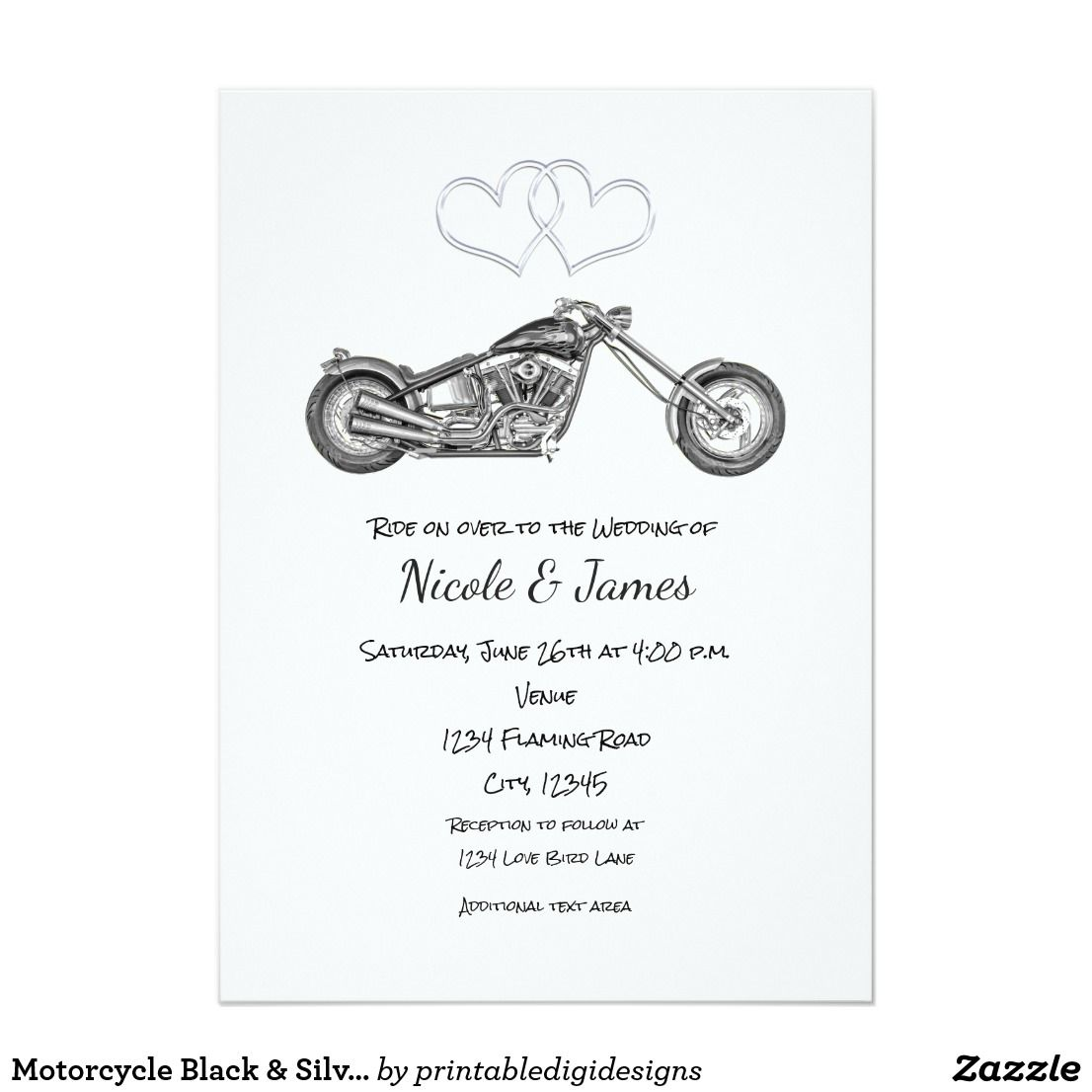 Motorcycle Black & Silver Hearts Biker Wedding Card | Engagement and ...