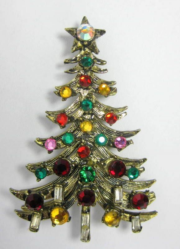 Hollycraft. Hollycraft Jewelry Christmas Tree ... - Hollycraft Christmas Tree Pins (Signed) In 2018 Pinterest