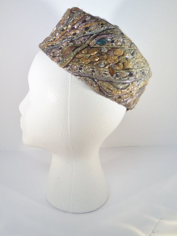 Pillbox Hat Capadors Metallic Tapestry in Gold Silver Olive Colors Vintage 1960s Vintage