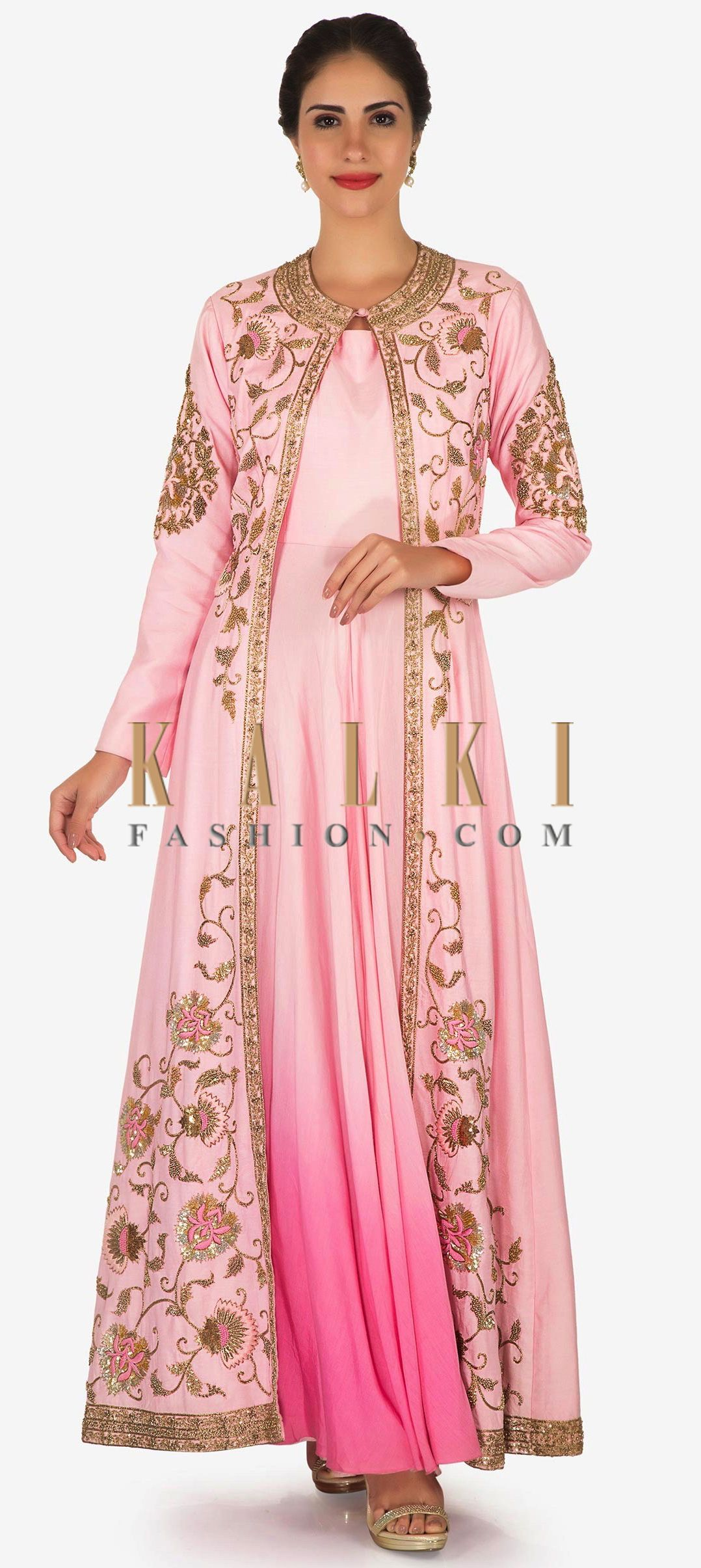 68a3a719 Pink silk tunic with a embellished jacket in embossed sequin and resham work  only on Kalki
